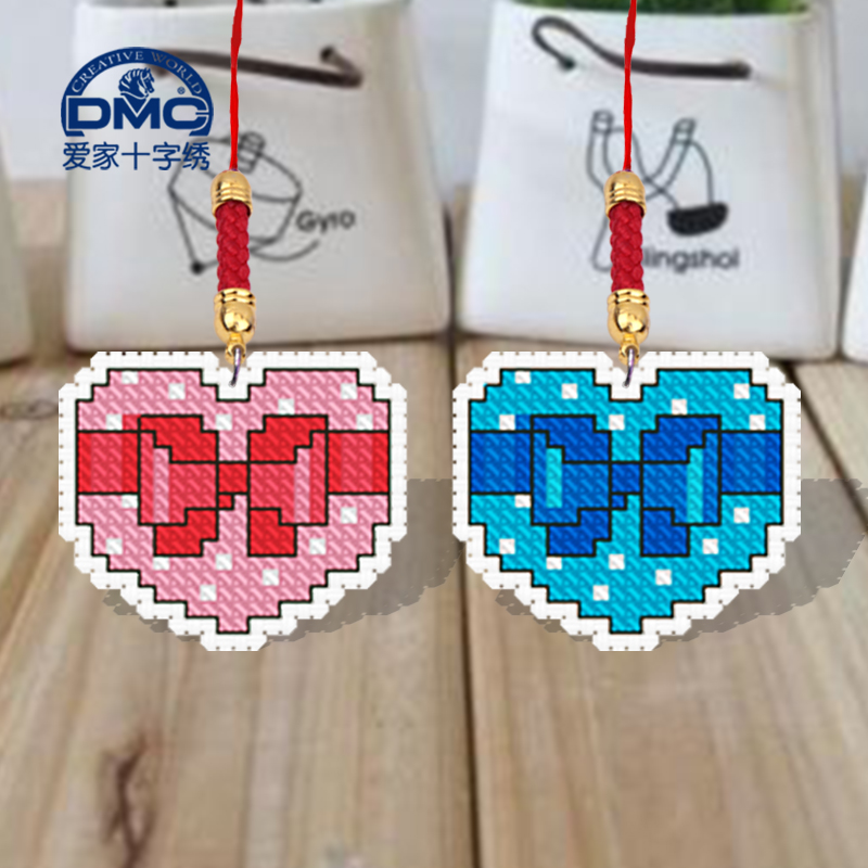 Dmc cross stitch sided embroidery phone chain pendant simple gretl sided embroidery small pendant diy 26 49*21