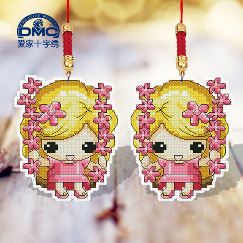 Dmc cross stitch sided embroidery phone chain pendant simple gretl sided embroidery small pendant diy 43 78*48