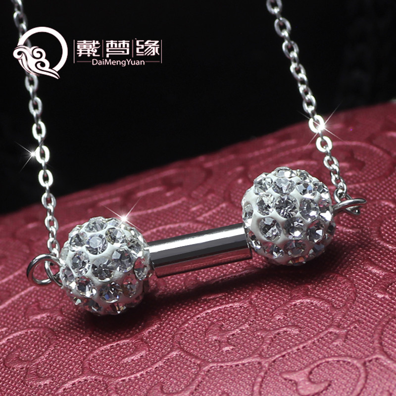 Dmy/dai meng yuan s925 silver pendant necklace pendant japan and south korea fashion sexy double ball lock bone necklace beautiful pendant