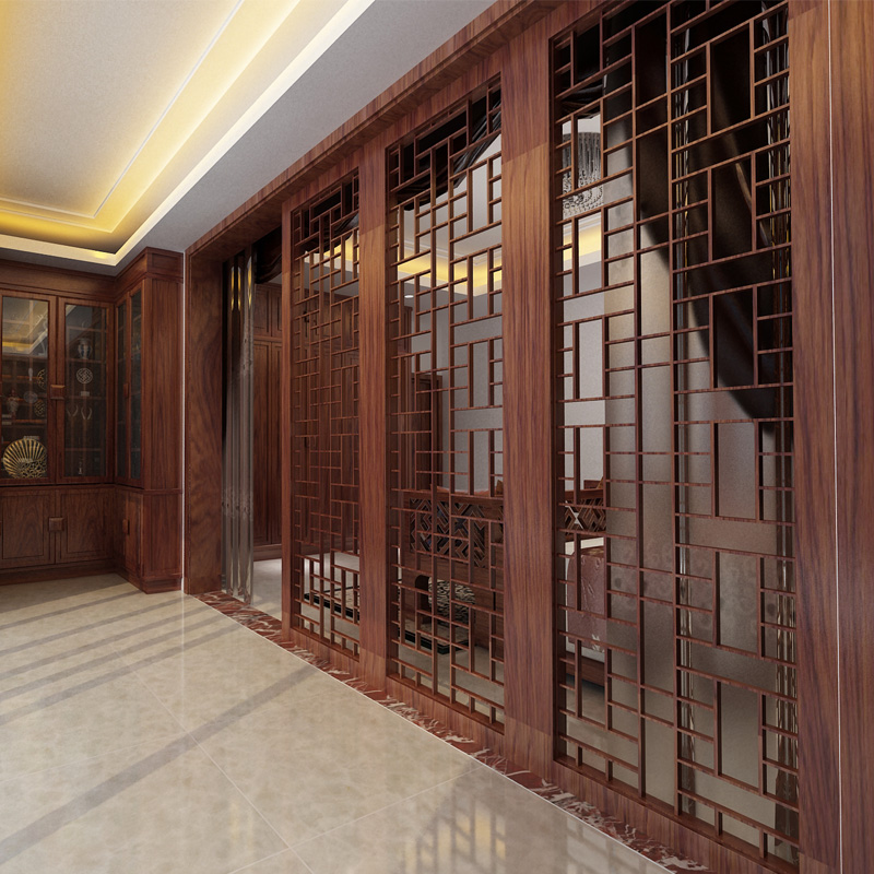 Dongyang wood carving antique chinese decoration living room entrance carved partition doors custom wood doors hollow plaid