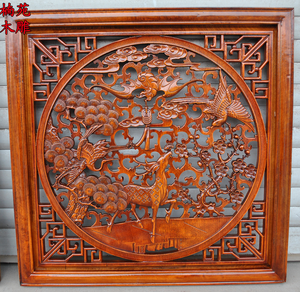 Dongyang wood carving camphor wood carving wood carving pendant antique square guaping chinese background wall hangings gods hi
