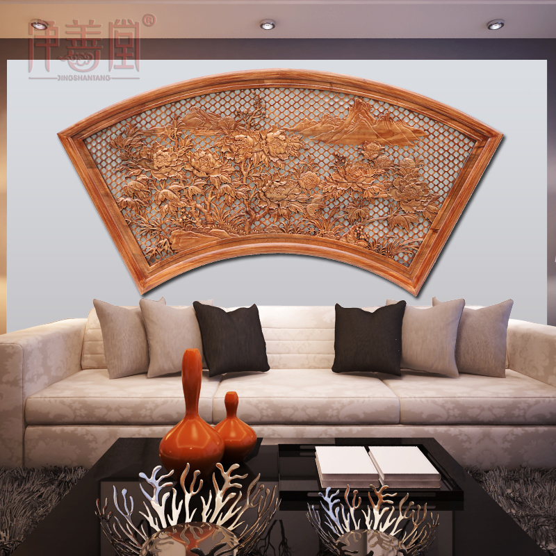 Dongyang wood carving chinese decorative wood guaping tv sofa backdrop wall office den entrance pendant