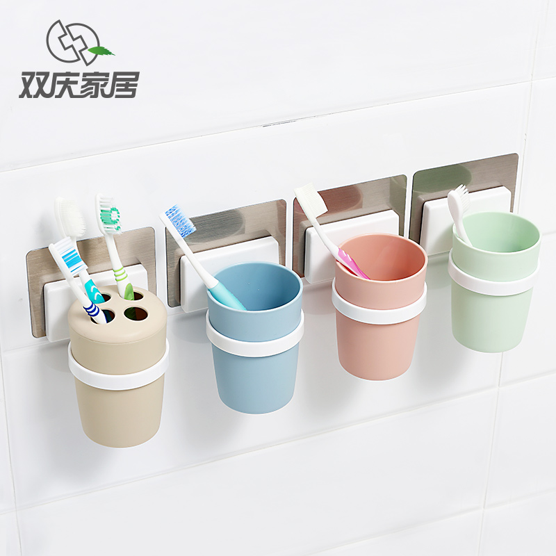 Double celebration powerful suction toothbrush holder toothbrush holder creative toothbrush cup cups wash suits wash cup brushing teeth cylinder cup of liquid soap free nail