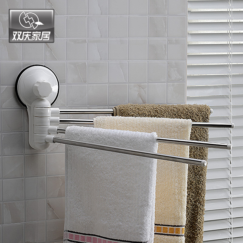 Double celebration sucker towel hanging towel rack 180 degree rotation bearing super free nail sucker towel bar towel hanging row