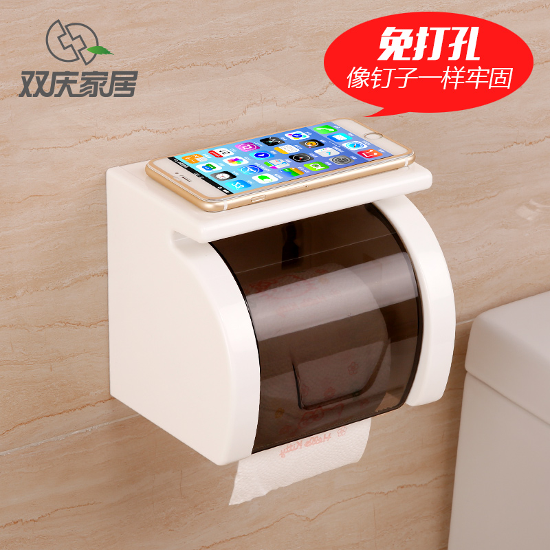 Double celebration sucker towel rack towel rack toilet tissue boxes waterproof roll toilet toilet toilet roll holder carton box free punch