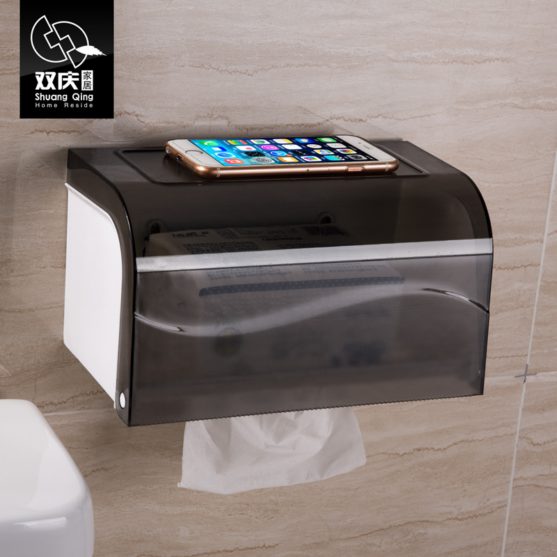 Double celebration waterproof roll holder toilet tissue box free punch suction toilet roll holder reel spool towel rack toilet paper holder tray