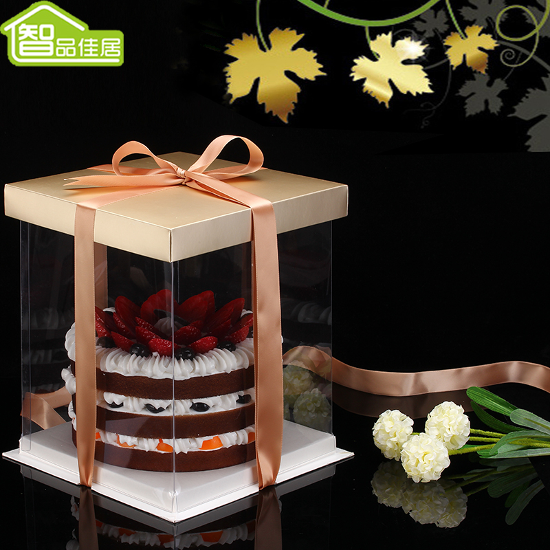 Double chi jia habitat transparent 6 8 10 12 8-inch baking cake box packaging box fondant food packaging box