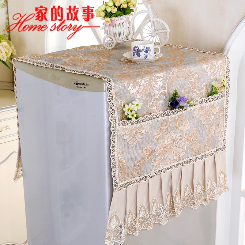 Double door refrigerator cover multi towel pastoral cover cloth dust cover with a towel and more on the door refrigerator refrigerator cover towel lace