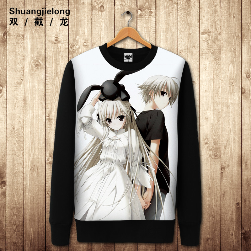 Double dragon meng sister kasugano dome edge of the empty cartoon hedging round neck long sleeve sweater for men and women