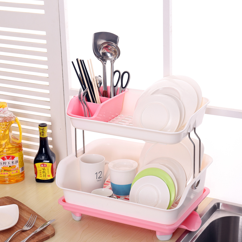 Double plastic dish rack dishes dishes drain drain rack kitchen cupboards cutlery rack storage rack fruits and vegetables