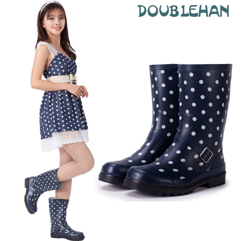 Doublehan charged with spring and summer fashion trend of hot ladies polka dot solid in tube rain boots rain boots water shoes rain boots