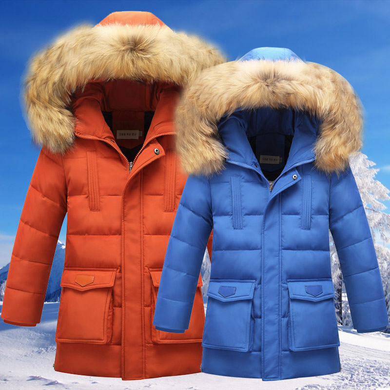 Down boy child in the long section of thicker male big boy 2016 new children's clothing boy big virgin winter coat