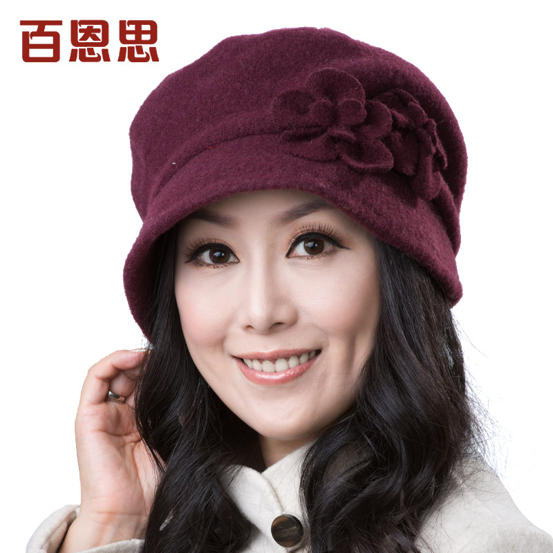 Downs winter flowers korean version of casual wool lady in red fashion winter autumn and winter beret hat dome