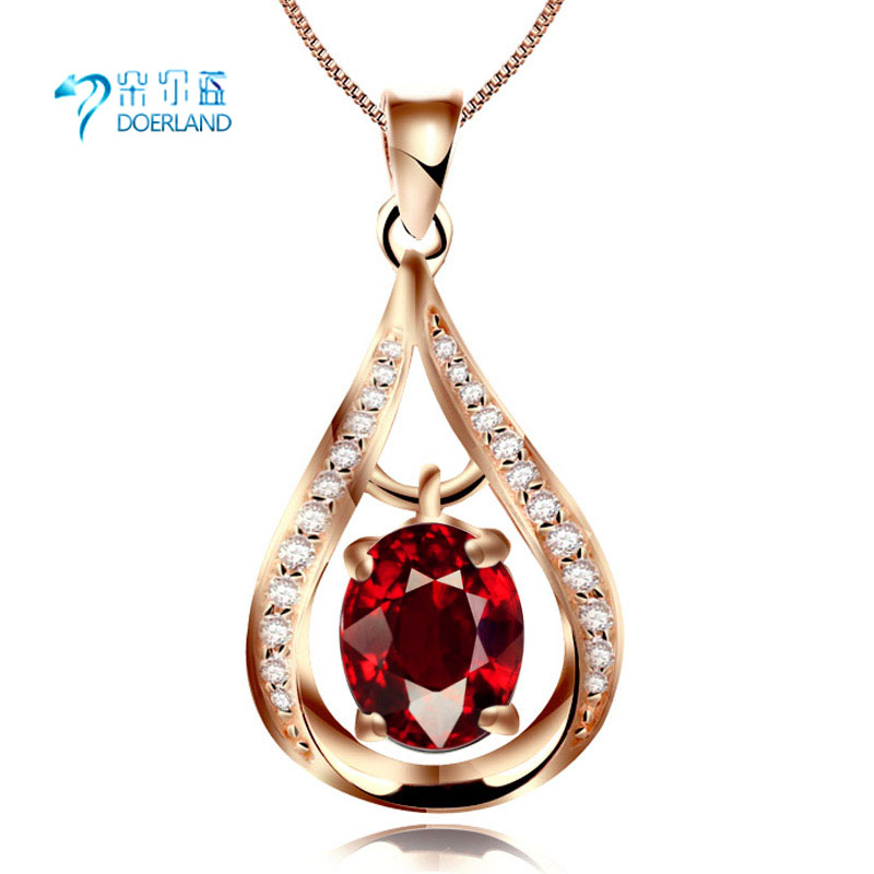 Doyle blue multicolored natural garnet pendant 925 silver plated rose gold gemstone pendant female short paragraph hot
