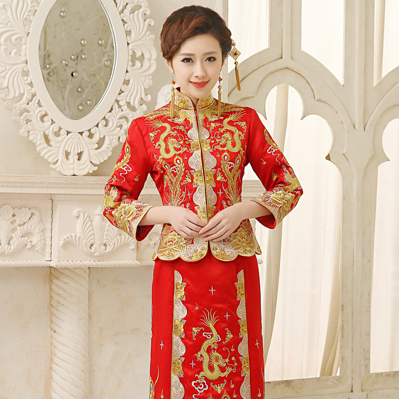 Get Quotations Dragon And Phoenix Gown Xiu Bride Cheongsam Chinese Wedding Dress Skirt 2016 Spring New