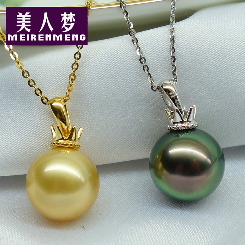 Dream beauty crown models k gold pendant natural nanyang kim pendant malachite green black pearl necklace