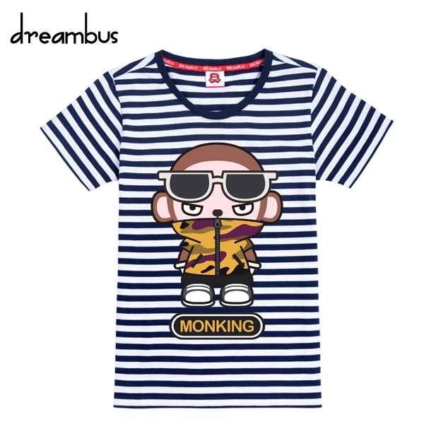 Dream bus ape brother navy stitching wild round neck short sleeve striped t-shirt korean version bottoming shirt tide yxd 042