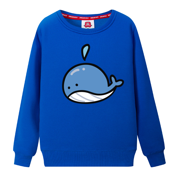 Dream bus blue babywhale new fall and winter clothes cute cartoon round neck cashmere sweater yncp 167