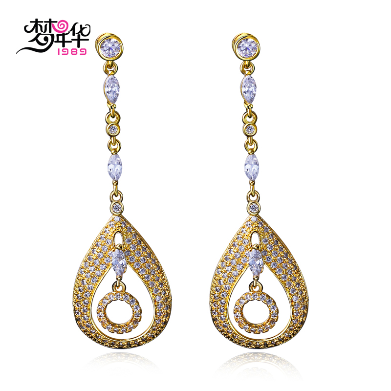 Dream love popular bohemian female models earrings inlaid artificial zircon gold plated earrings earrings long section