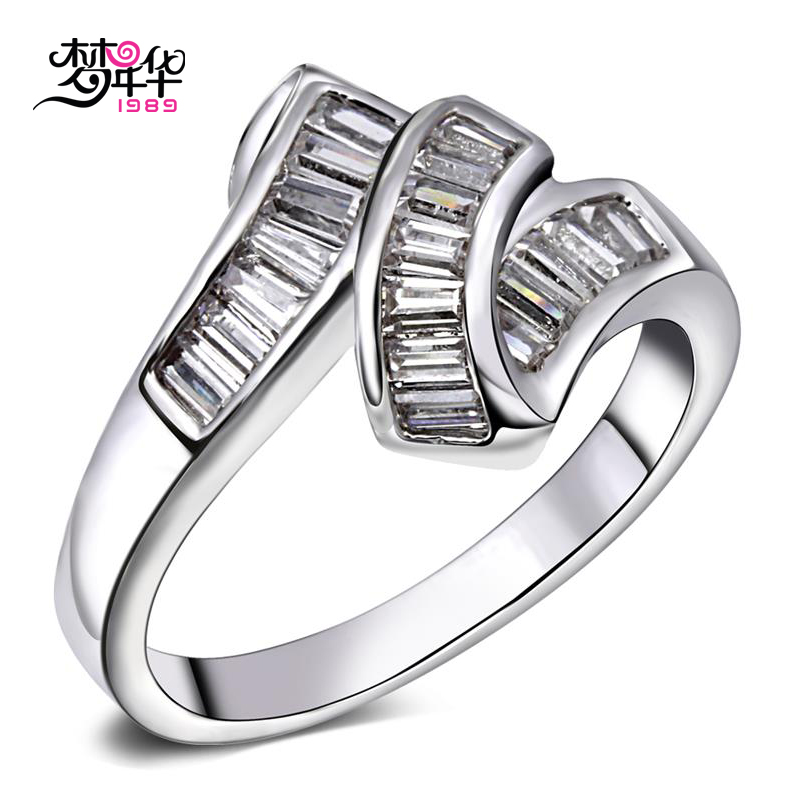 Dream love simple and stylish design ms. ring white gold plated ring jewelry popular artificial zircon