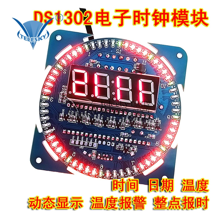 Ds1302 clock module diy rotating led display clock electronic table alarm clock temperature display alarm