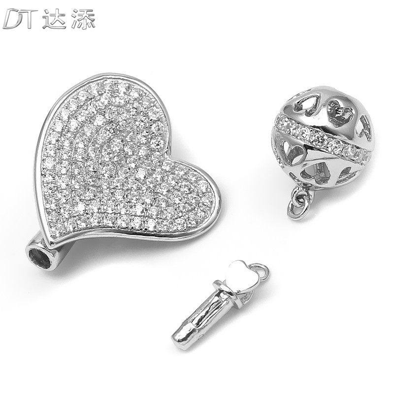 Dt 925 silver micro pave cz heart boutique buckle clasp pearl necklace clasp popular diy jewelry accessories