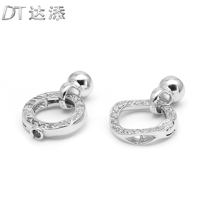 Dt skewered new crystal pearl necklace clasp bracelet diy accessories 925 silver clasp bracelet clasp connector