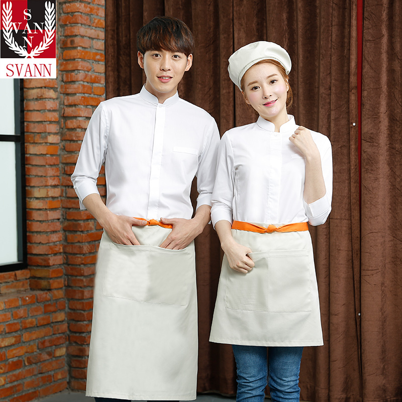 Dual waterproof korean version of a solid color men short paragraph bust long apron shuba restaurant food sweets and snacks shop business shop