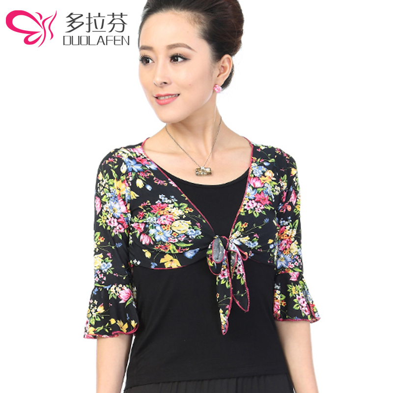 Duo lafen 2016 spring new middle-aged floral autumn and winter long sleeve shirt square dance clothing dance clothing new suit dance