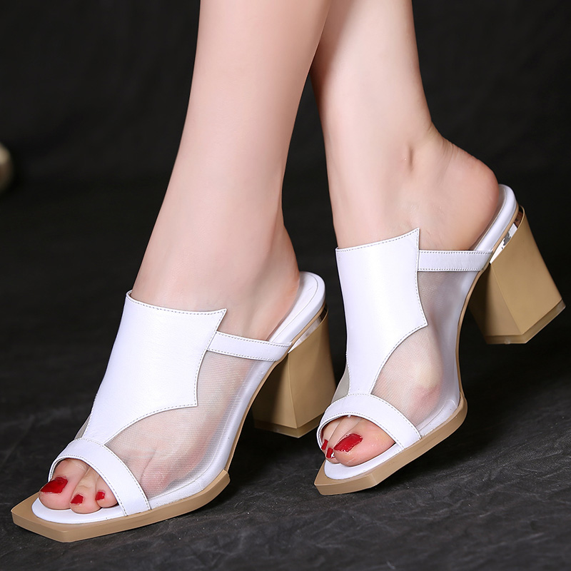 810766150aa Get Quotations · Duo mu borderies plain thick with summer sandals and  slippers 2015 new square head high heels