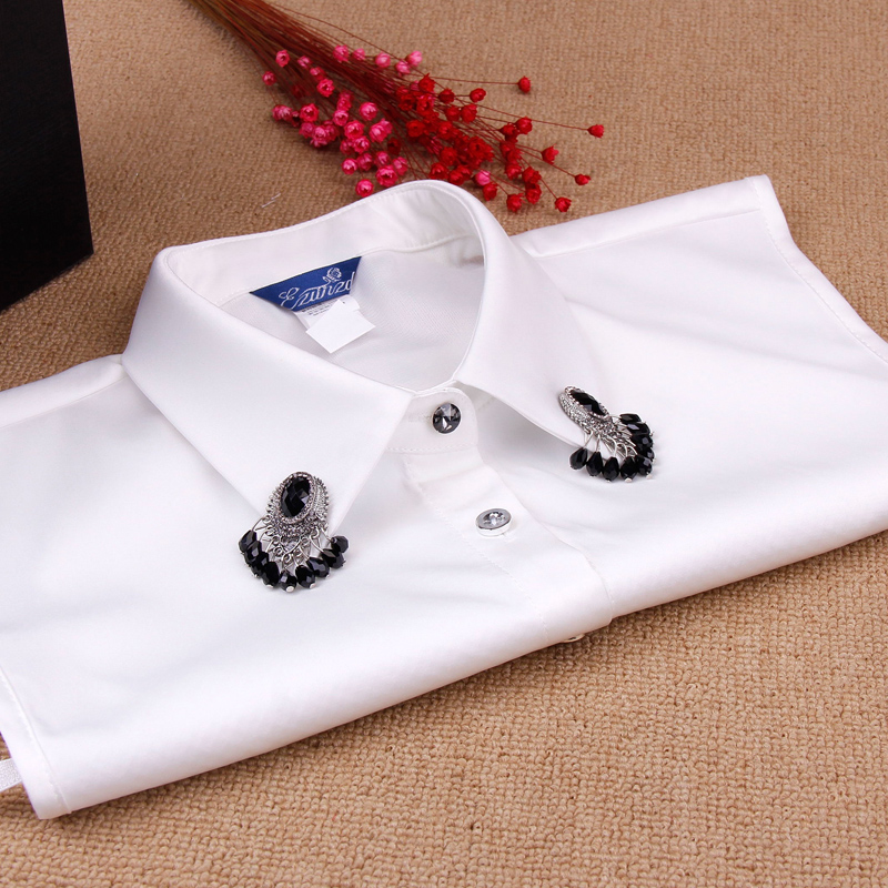 Duo of respect for hundreds of millions of korean wild fake collar detachable collar fake diamond collar shirt spring and winter black and white false collar
