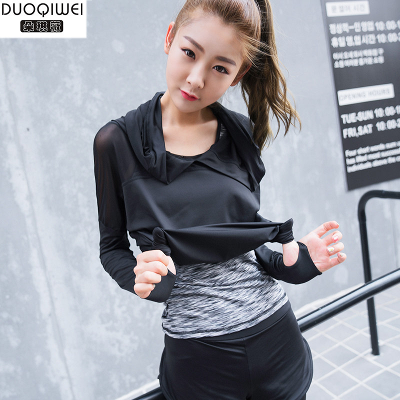 Duo qi 2016 jorvi professional sports and fitness yoga clothes shirt was thin summer clothes women outside the fall and winter sets new hot