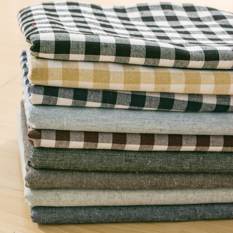Dyed linen cloth cotton twill fabric printing knitted cotton plaid cotton linen cotton linen