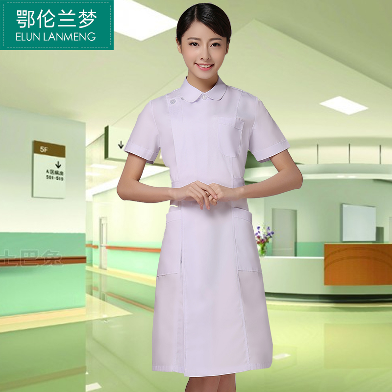 E lun blue dream partial lapel short sleeve round neck summer female doctor nurse lab coat clothes shop experimental medication nurse internship