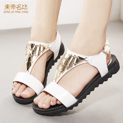 East timor were square 2015 summer open toe waterproof word buckle sandals shoes student flat sandals female summer