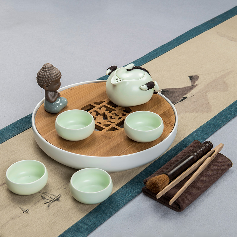 East west tea pot dry tea sets tea tea set tea set ceramic tea tray kung fu tea set matte disc fuk