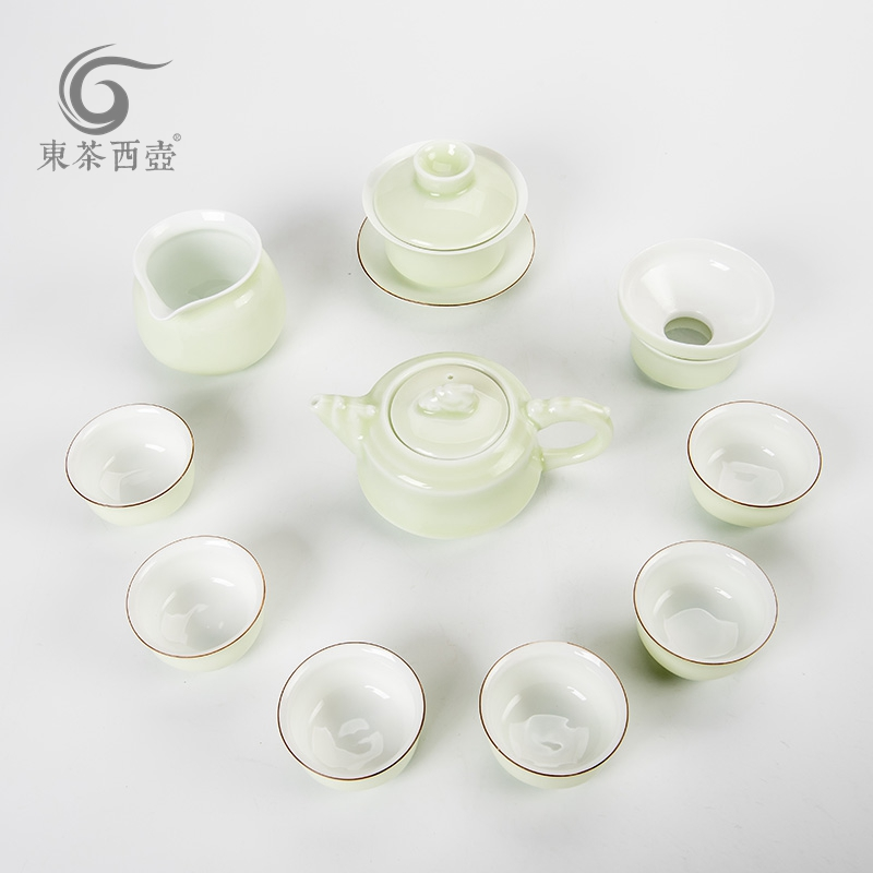 East west tea pot eggshell ceramic tea set teapot set jade celadon glaze kung fu tea sets into 10
