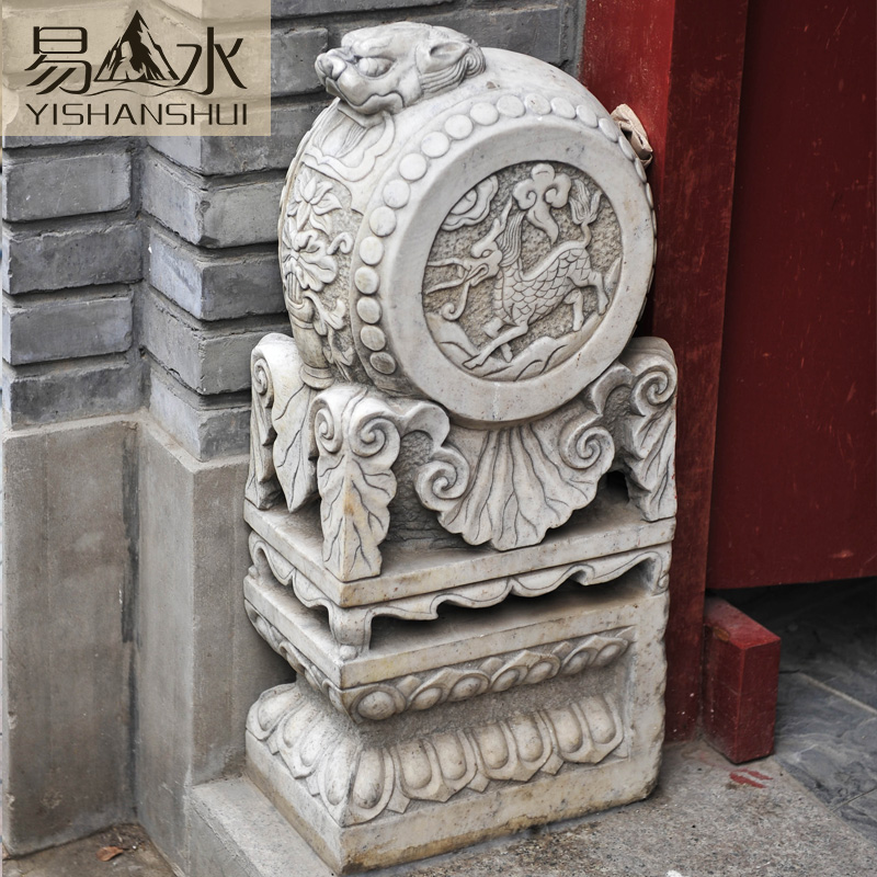 Easy to plant landscape holding drum mendun unicorn carved white marble stone marble mendun quyang stone carving animal heads archaized