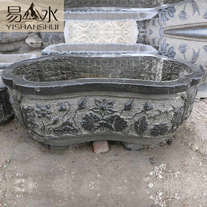 Easy to plant landscape outdoor flower pots slot marble bluestone antique carved fish tank aquarium fish tank water landscaping gardening aquarium fish tank