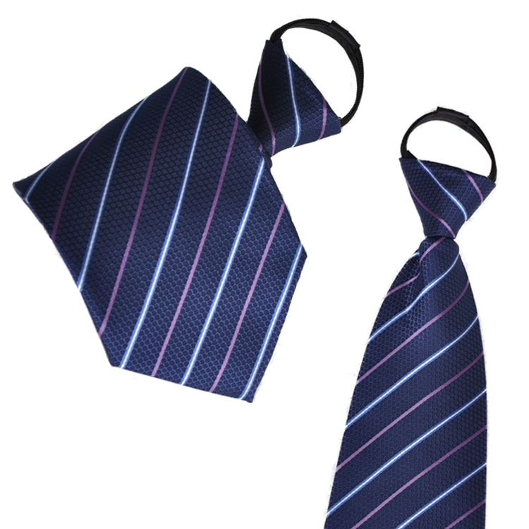 Easy to pull zipper tie male business suits tie tie tie lazy blue stripes