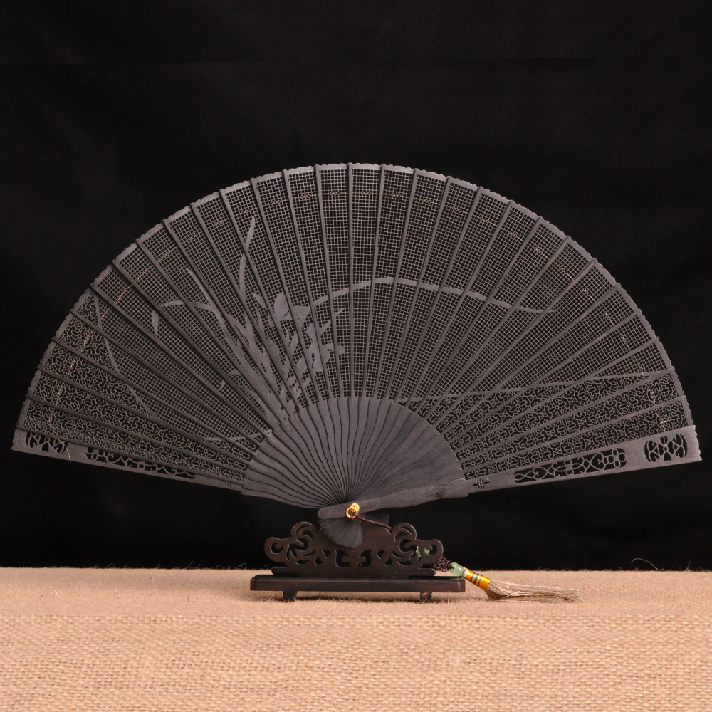 Ebony ebony mahogany folding fan chinese style gift gifts to send foreigners sandalwood fan decoration craft fan