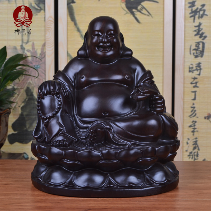 Ebony wood carving of buddha maitreya ingot ornaments lucky home crafts mahogany wood carving laughing buddha sitting on a lotus