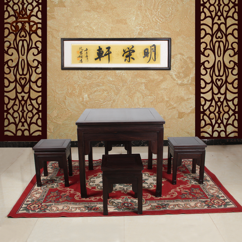 Ebony wood square table tea table mahogany tea table wujiantao chinese dining table mahogany furniture tea table tea table and chair combination