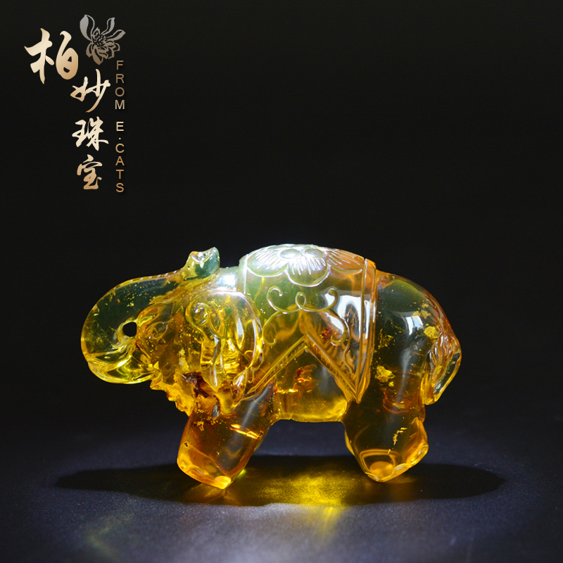 Ecats natural amber burmese amber ore amber green amber amber liu qing elephant hand pieces ornaments attached certificate