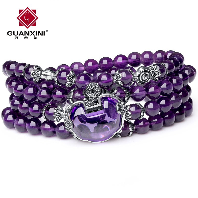 Edison korean version of sweet borderies uruguay natural amethyst crystal bracelet female fashion multilayer multiturn jewelry safe lock
