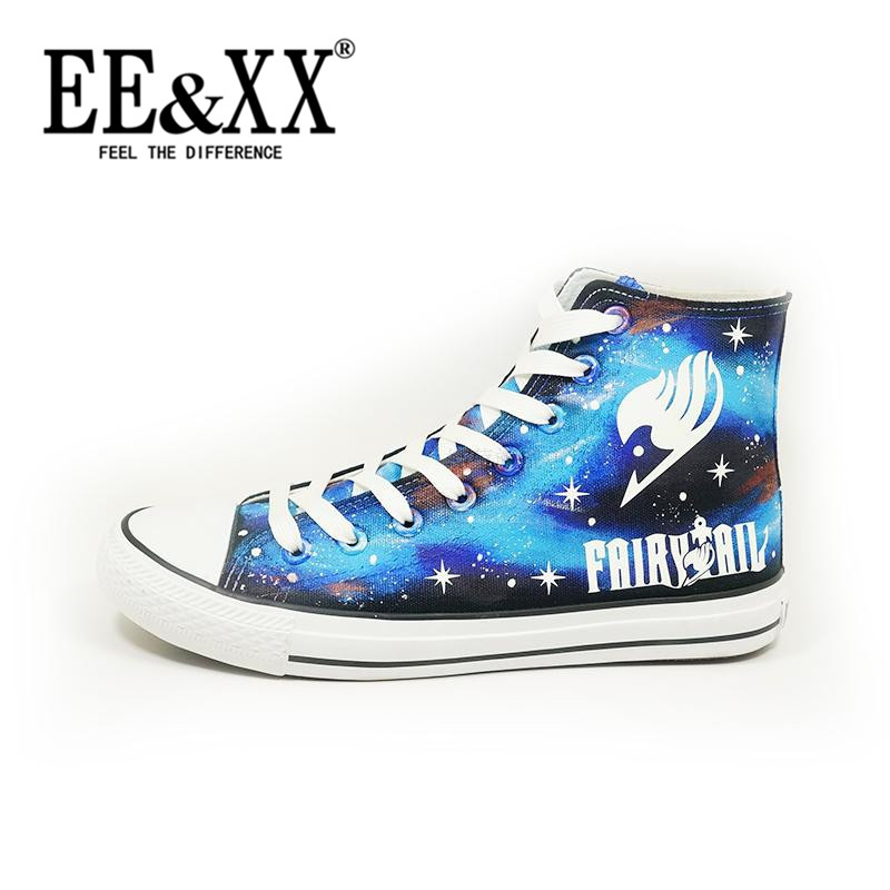 Eexx fairy tail anime luminous painted shoes with canvas shoes tide 2016 korean version of the new student department 8703