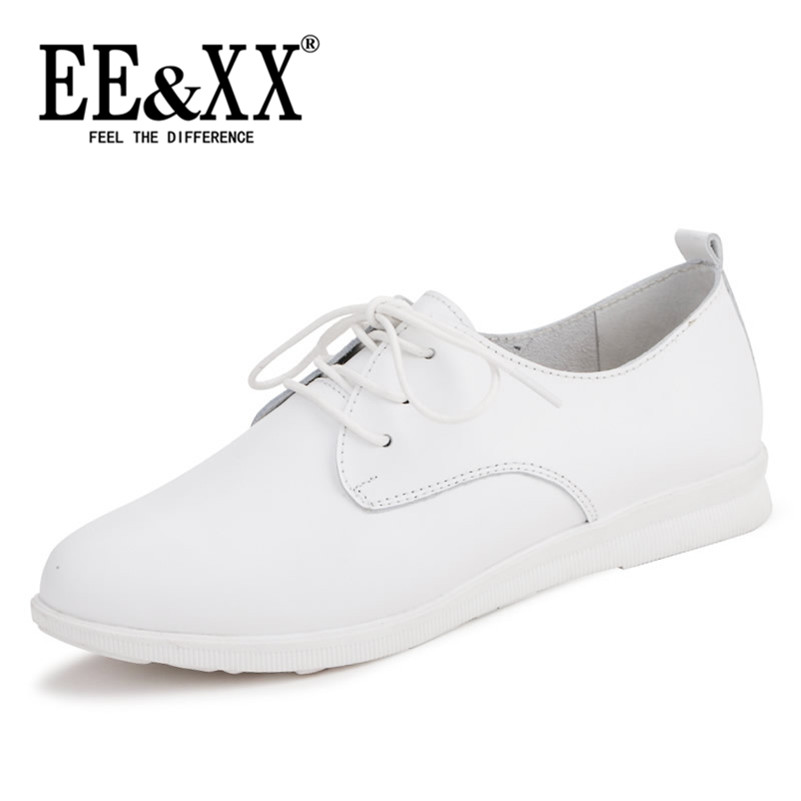 EEXX2016 spring new deep mouth round flat shoes to help low solid lace stylish and comfortable casual shoes 3567