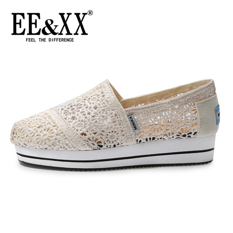 EEXX2016 summer new muffin with comfortable shoes breathable mesh hollow female fashion solid color sets foot shoes 4823