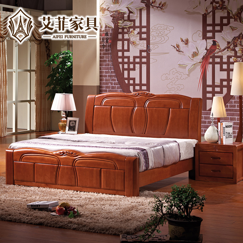 Effie chinese oak bed modern chinese solid wood double bed 1.8 pneumatic high storage box bed 1.5 m 82 #