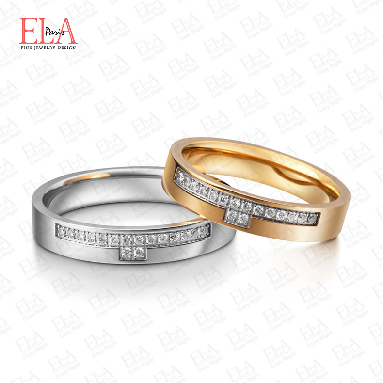 Ela18k yellow and rose gold platinum and diamond cluster ring on the ring wedding rings for men and women couple custom counter